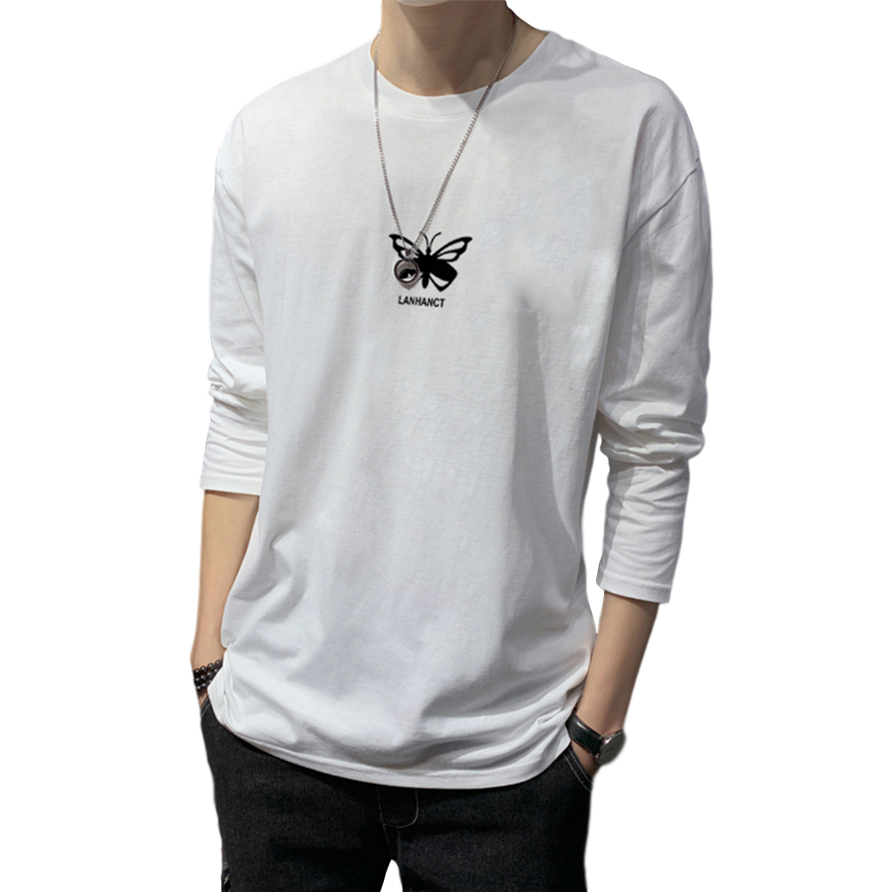 Men's T-shirt Autumn Long-sleeved Thin Loose Butterfly-printing Bottoming Shirt  white_XXL