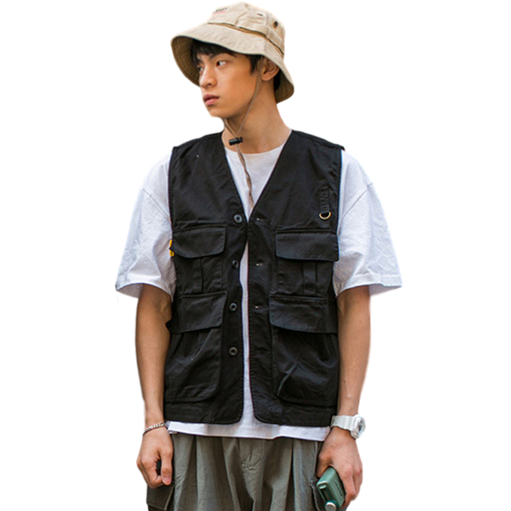 Men's Vest Summer Multi-pocket Loose All-match Sleeveless Vest black_XL