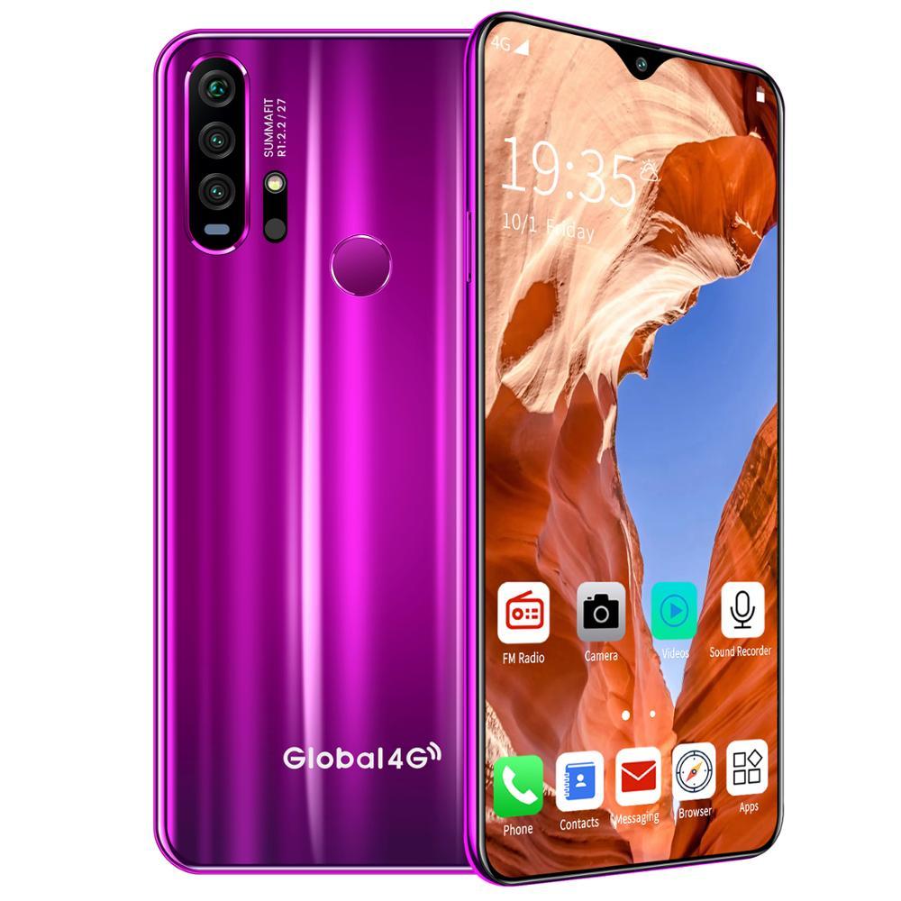 R30 pro Smart Phone 4G Network 3G + 64g High Configuration Face Recognition Fingerprint Recognition Phone purple_European regulations