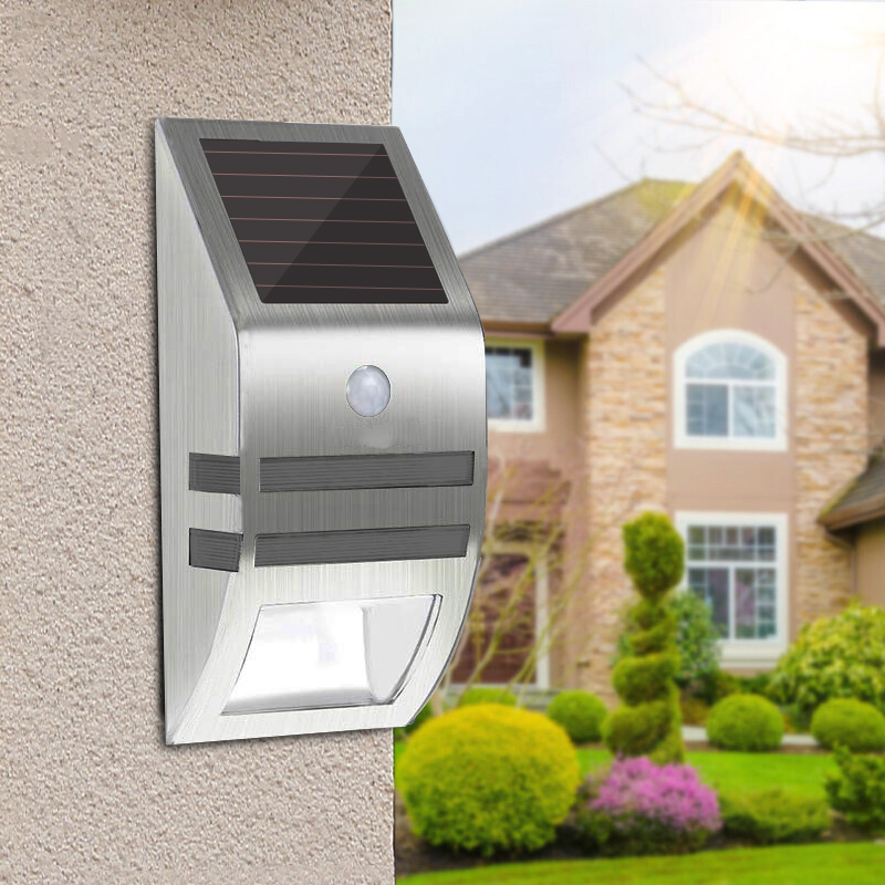 Stainless Steel Waterproof Motion Sensor Solar Wall Light for Garden Yard White light + blue light