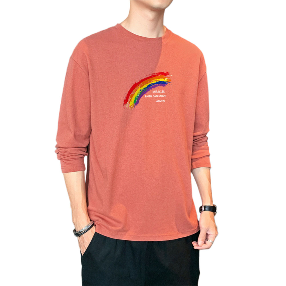 Men's T-shirt Autumn Printing Loose Long-sleeve Bottoming Shirt Red _L