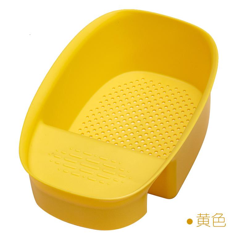 Kitchen Sink Drain  Strainer Fruit Vegetable Drainer Hollow Designed Storage Basket Yellow