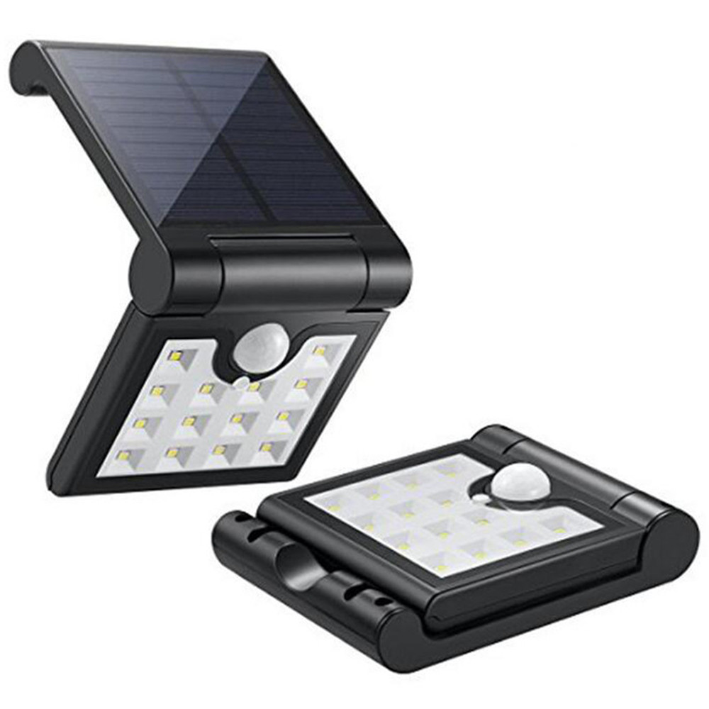 1W Waterproof Solar Folding Wall Lamp with Motion Induction White Light
