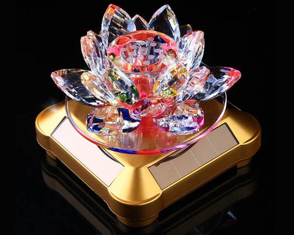 Glass Lotus Ornament with Solar Spin System Light Illuminated Base Golden bottom - colorful lotus