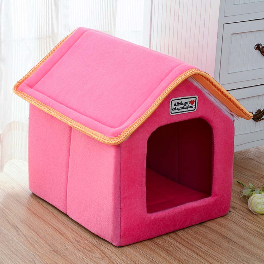 Foldable House Shape Pet Nest with Mat for Small Dog Teddy Poodle Puppy Cats red_S