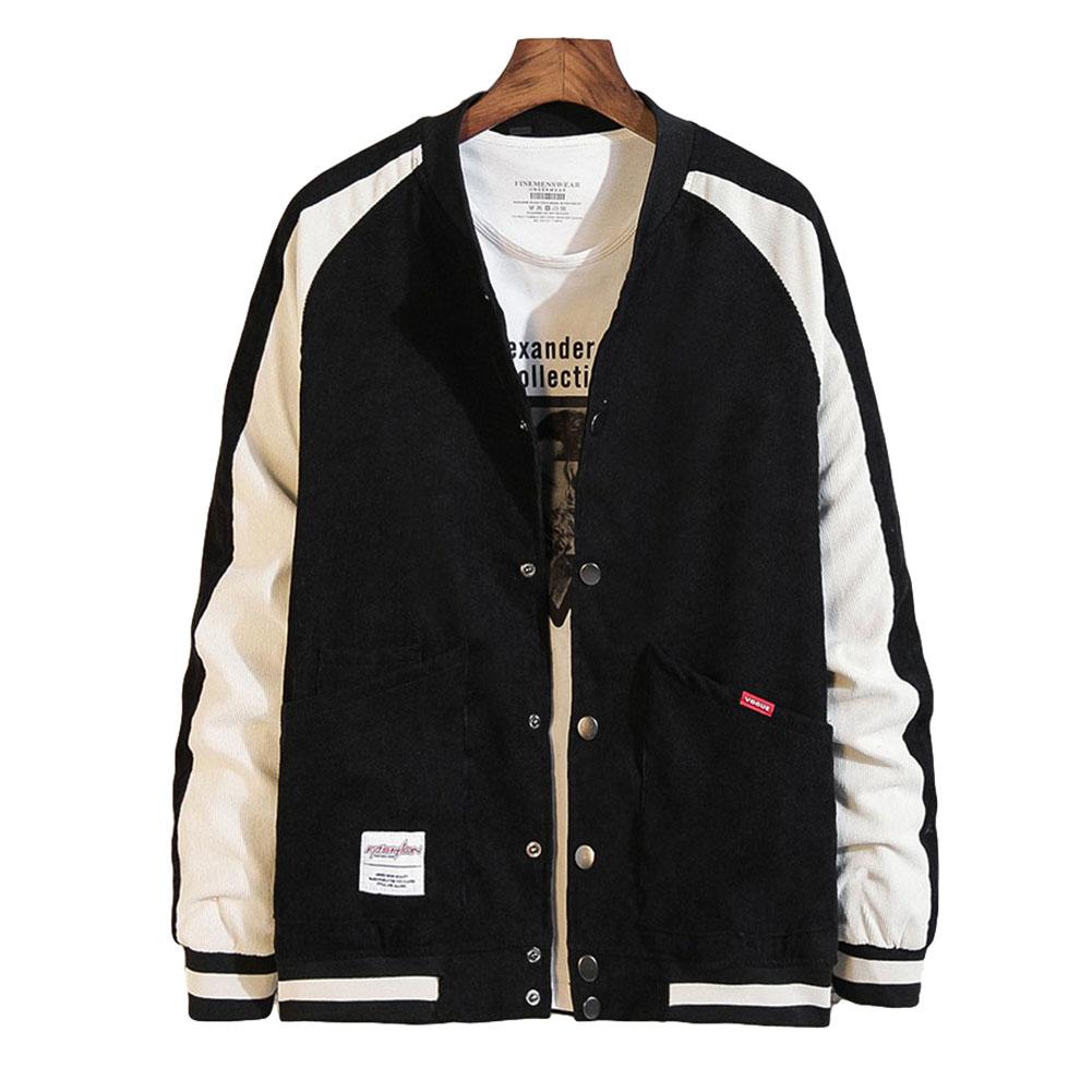 Men's Jacket Autumn Plus Size Corduroy Stand Collar Baseball Uniform Black _L