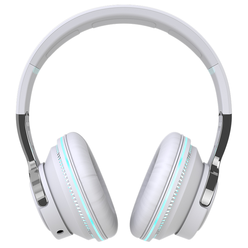 Bluetooth-compatible Headset RGB Bass Stereo Retractable Folding Design Wireless Headset White
