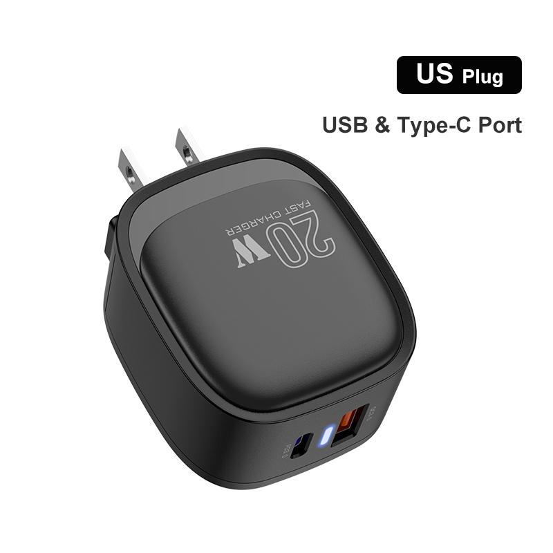 Dual-port Mobile Phone Charger Usb Pd20w Fast Charging For Phone U.S. plug
