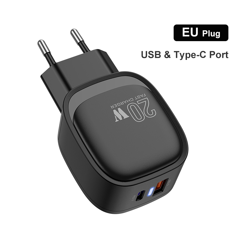 Dual-port Mobile Phone Charger Usb Pd20w Fast Charging For Phone EU plug