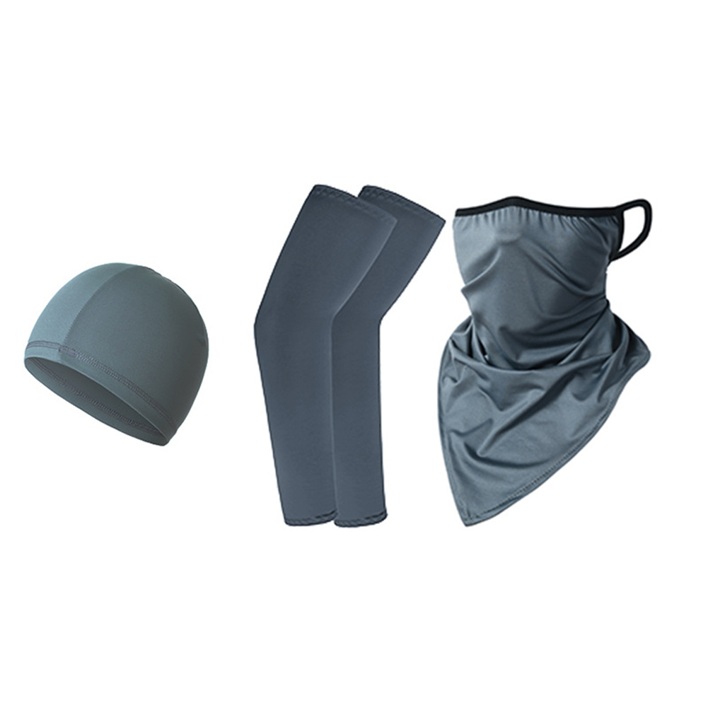 Ice Silk Sunscreen  Set Printing Neck Protector Triangle Scarf+sleeves+hat Dark gray_One size
