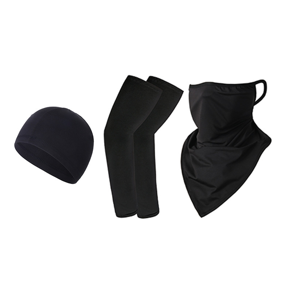 Ice Silk Sunscreen  Set Printing Neck Protector Triangle Scarf+sleeves+hat black_One size