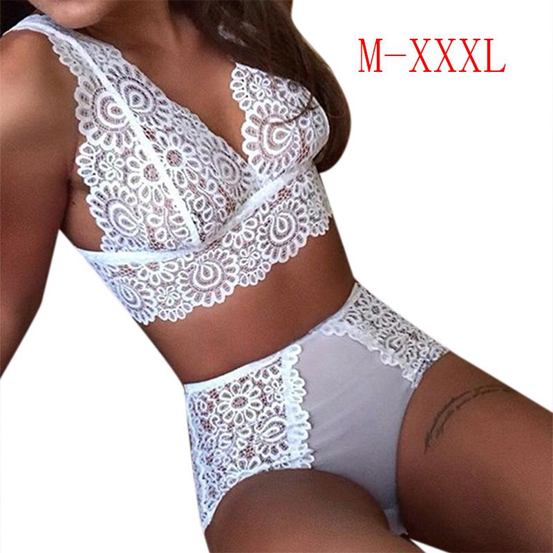 2PCS/Set Sexy Women Underwear Panties Hot Lingerie Lace Bra and Briefs  white_XXL
