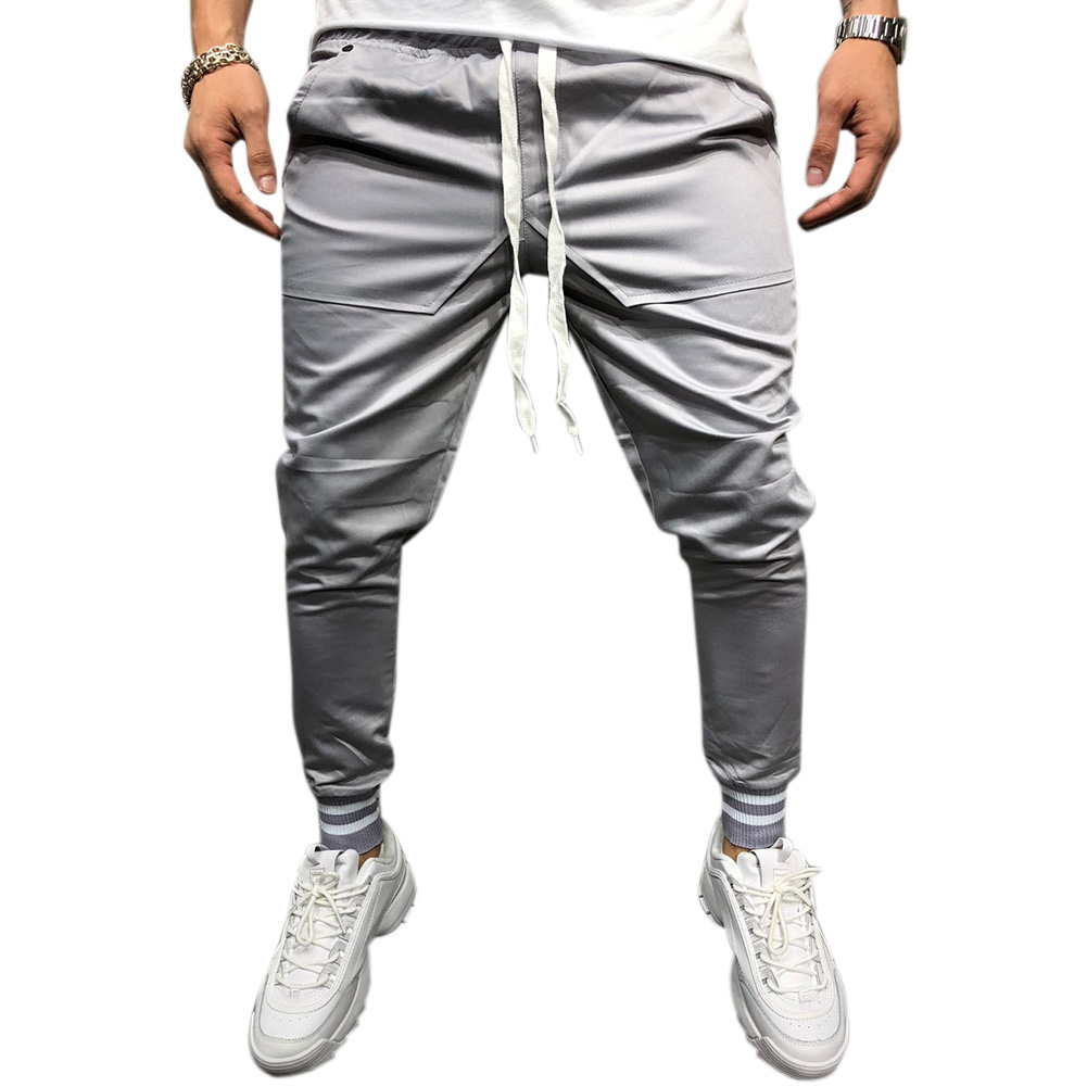 Men Jogger Pants Urban Hip Hop Casual Trousers Pants Fitness Sports Slacks  gray_M