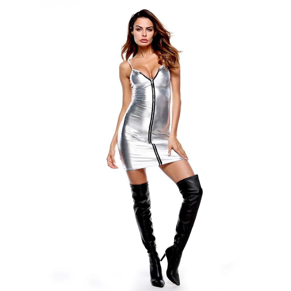 Women Leather Long Sleeve Bodysuit Clubwear Sexy Lingerie Dress with T Back Silver_M