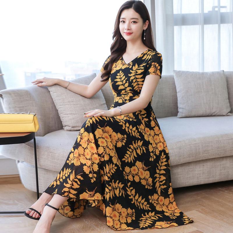 Women Summer Short Sleeve Fashion Printed Long Waisted Dress yellow black flower_L