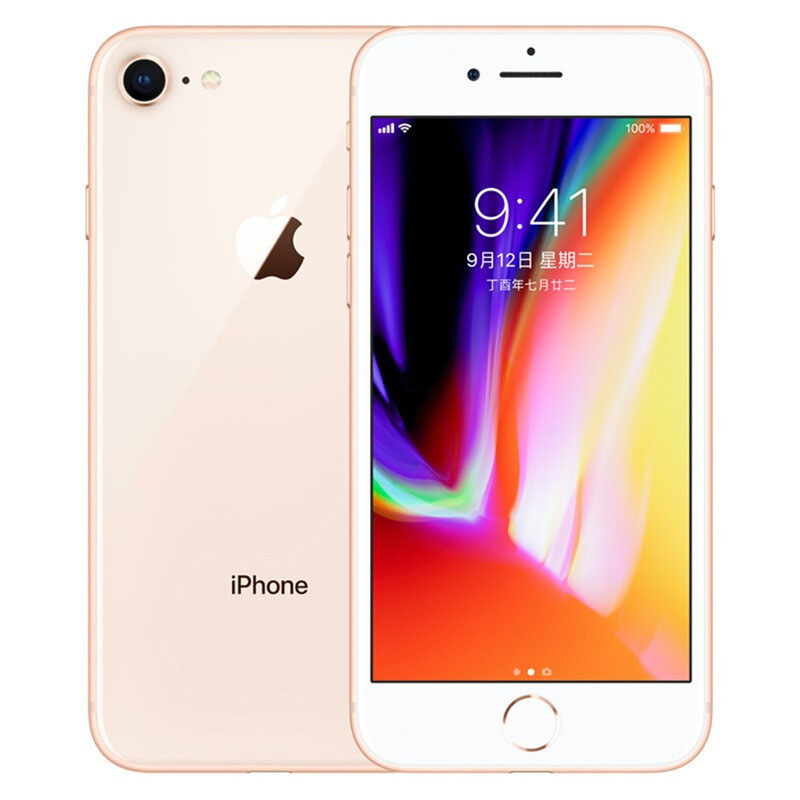 Original Apple iPhone 8 12MP+7MP Camera 4.7-Inch Screen Hexa-core IOS 3D Touch ID LTE Fingerprint Phone with Euro Plug Adapter Gold_256GB