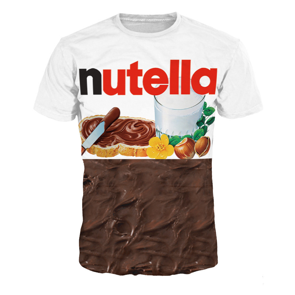 Unisex Stylish 3D Chocolate Cream Pattern Short Sleeve T-shirt as shown_XXL