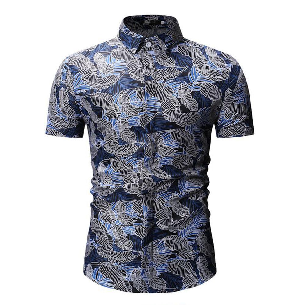 Men Summer Casual Loose Short Sleeve Hawaii Beach Shirt for Travel Wear blue_L