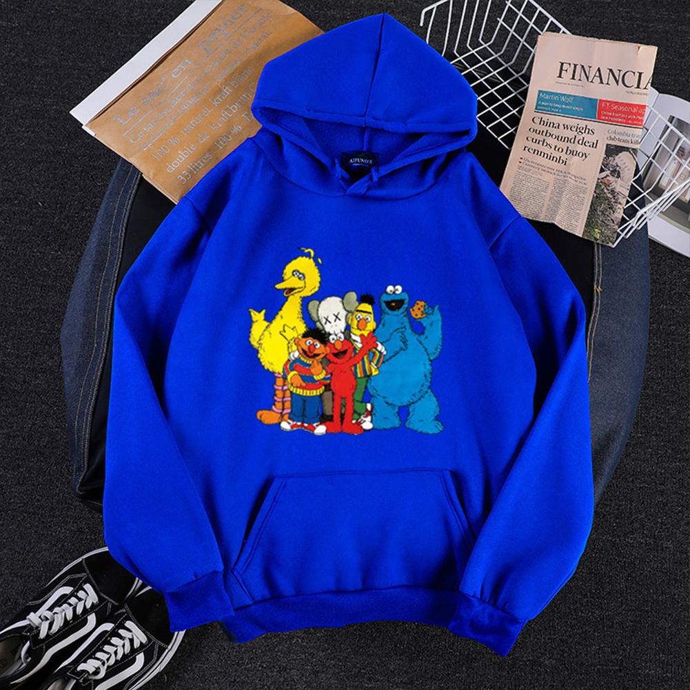 KAWS Men Women Hoodie Sweatshirt Cartoon Animals Thicken Autumn Winter Loose Pullover Blue_S