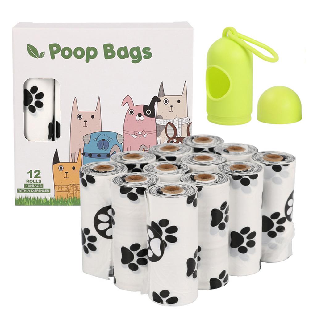 Epi Degradable Pet Garbage  Bag Dog Poop Picking Pouch Pet Supplies 12 rolls of white + dispenser_23*33cm/ 15 pieces per roll