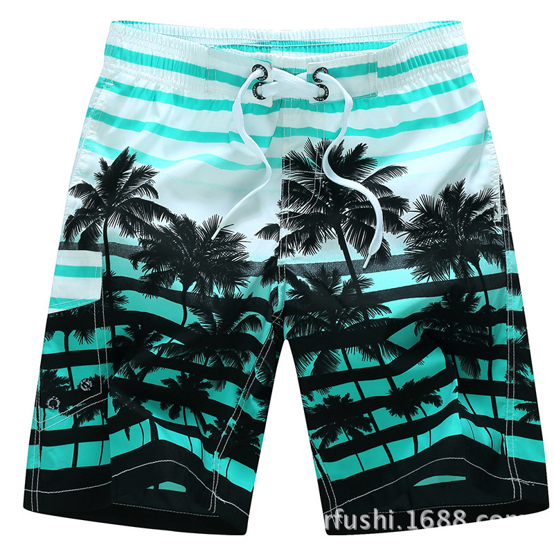 Male Beach Shorts Quick Dry Pants with Strips and Coconut Tree Printed Vacation Wear blue_XXXL