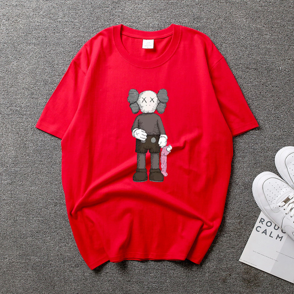 Boy Girl KAWS Couple T-shirt Cartoon Doll Crew Neck Short Sleeve Loose Student Pullover Tops Red_L