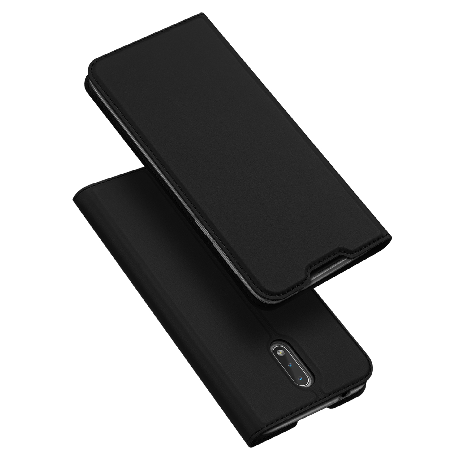 For Nokia 2.3 Magnetic Phone Case Wallet Design Card Slots Stand Function All-round Protective Cellphone Shell Shockproof Leather Cover black