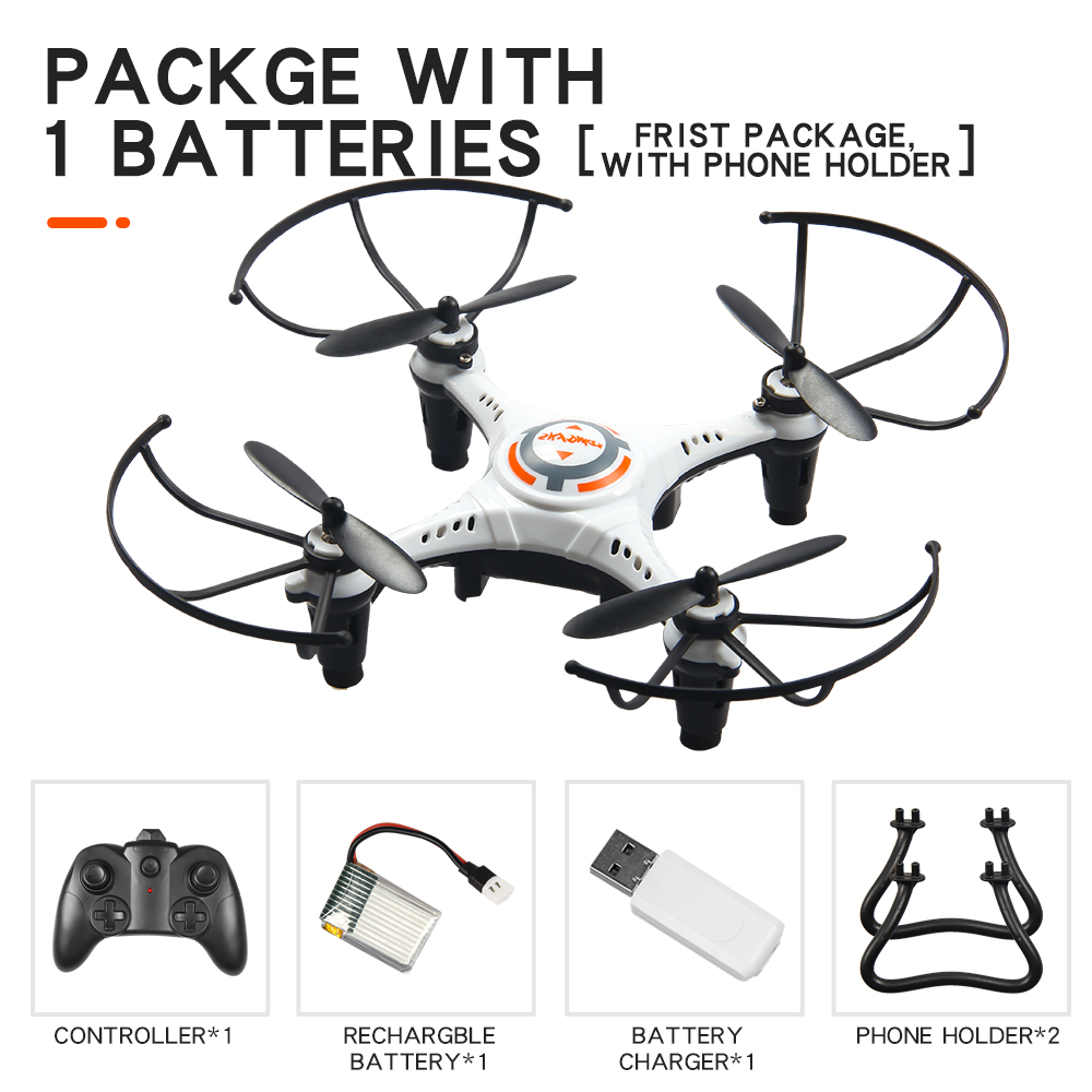 JX815-2 Mini 2.4GHz 4 Channel Drone 360° Rolling Quadcopter white 1 battery