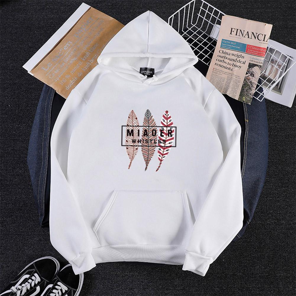 Men Women Hoodie Sweatshirt Three Leaves Thicken Velvet Autumn Winter Loose Pullover White_XL