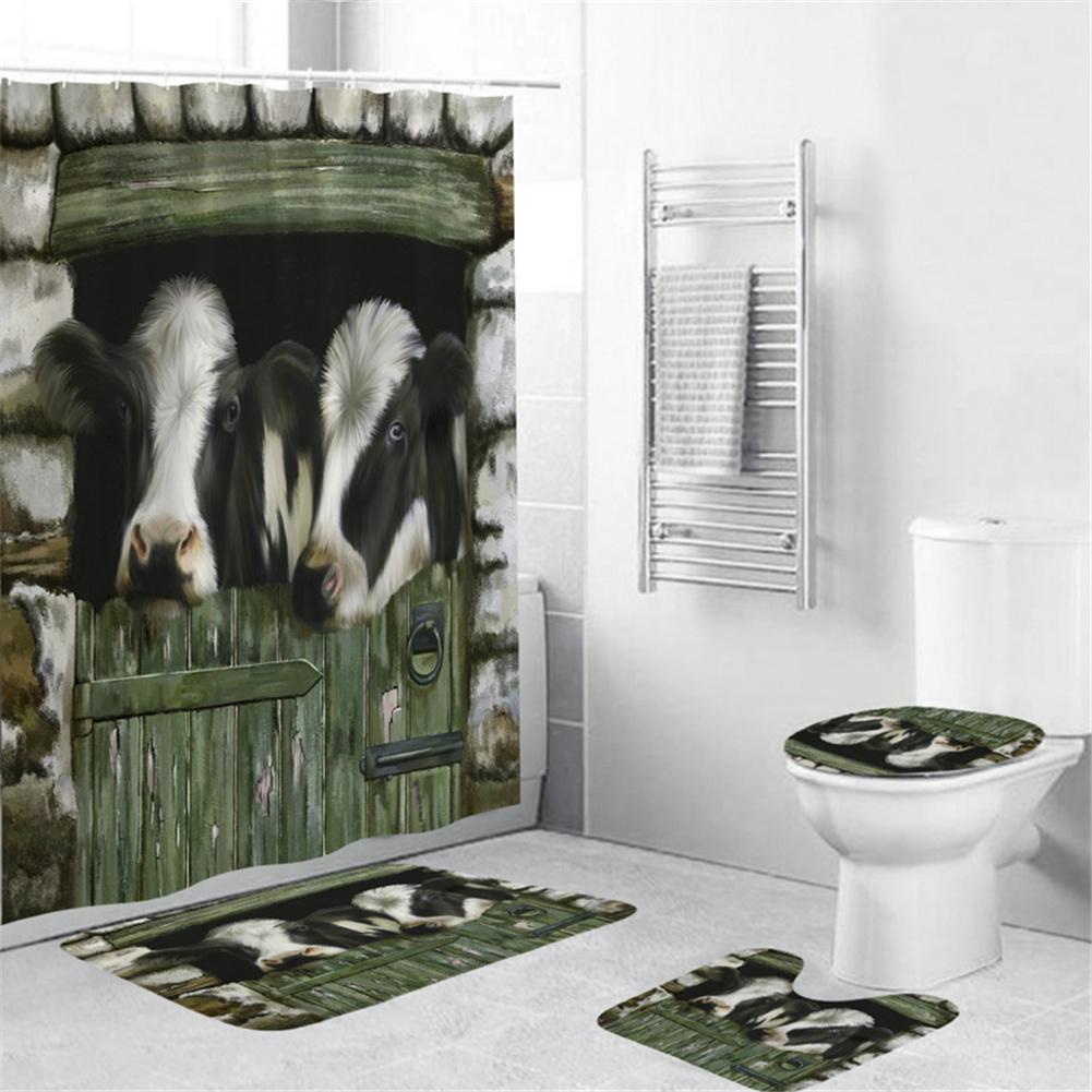 Cow Head Printing Shower  Curtain Waterproof Bathroom Hanging Curtain Decor yul-1839-Pasture Cow_150*180cm