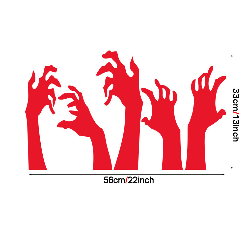 Black Handprint Wall Sticker Halloween Decor Horror Party Decal AFH2050 red