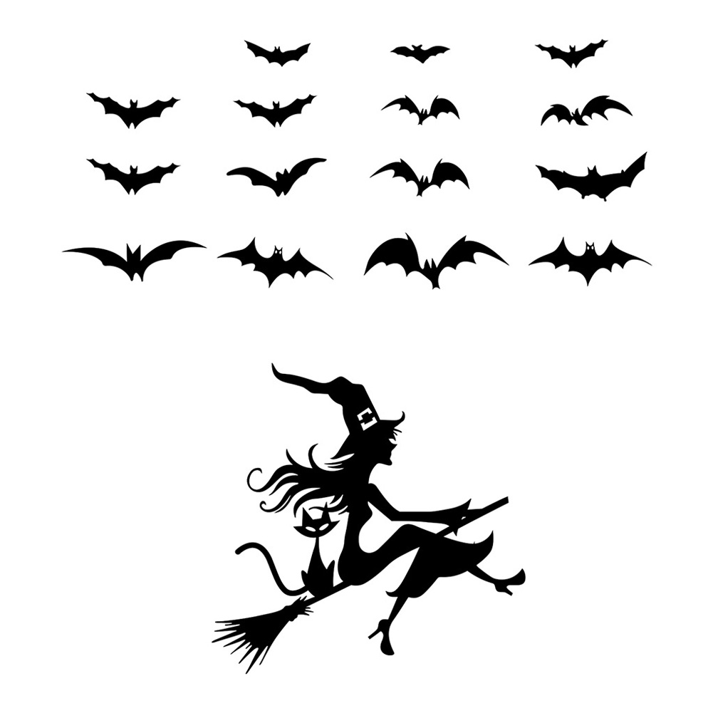 Halloween Witch Bat Wall Sticker Decoration DIY Living Room Bedroom Wall Decals Party Decor AFH2160