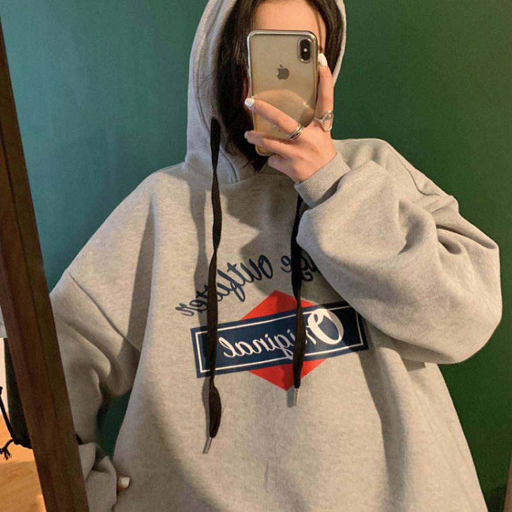 Men Women Hoodie Sweatshirt Letter Printing Loose Fashion Hip-hop Pullover Casual Tops Light gray_M