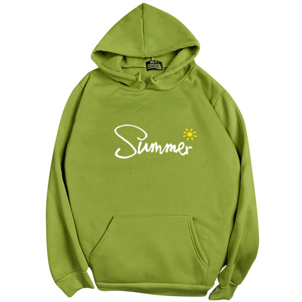 Men Women Hoodie Sweatshirt Thicken Velvet Summer Sun Loose Autumn Winter Pullover Tops Green_L