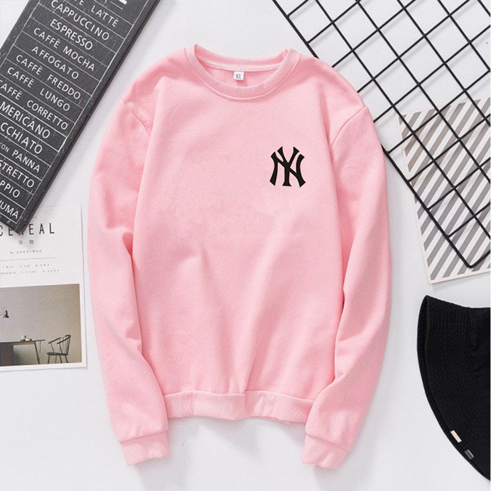 Men Women Lovers Fashion Round Collar Fleece Loose Hooded Sweatshirts Coat Pink_M