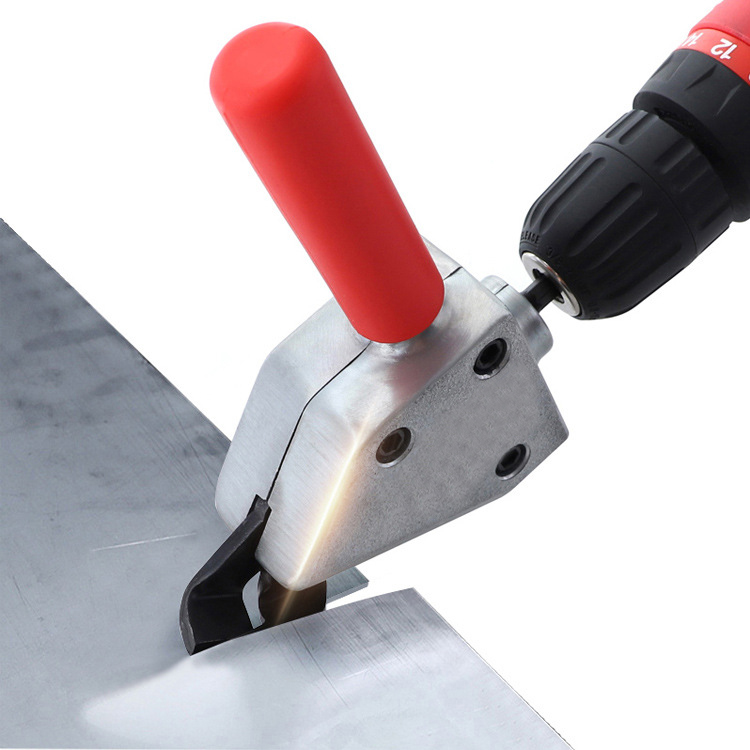1/4in Nibble Metal Cutting 6.35 Sheet Metal Nibble Cutter HCS Drill Shear Attachment Electric Scissors for Power Tool Accessories Red + silver