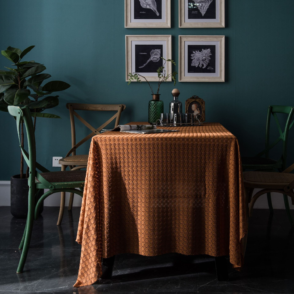 Retro Jacquard Lace Tablecloth Home Table Cover For Home Party Holiday Resturant Orange_150*180cm