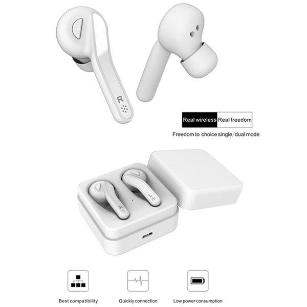TWS Bluetooth 5.0 Earphones True Wireless Earbuds Noise Canceling Earphones HIFI Earpieces with Mic for Phone (Black)