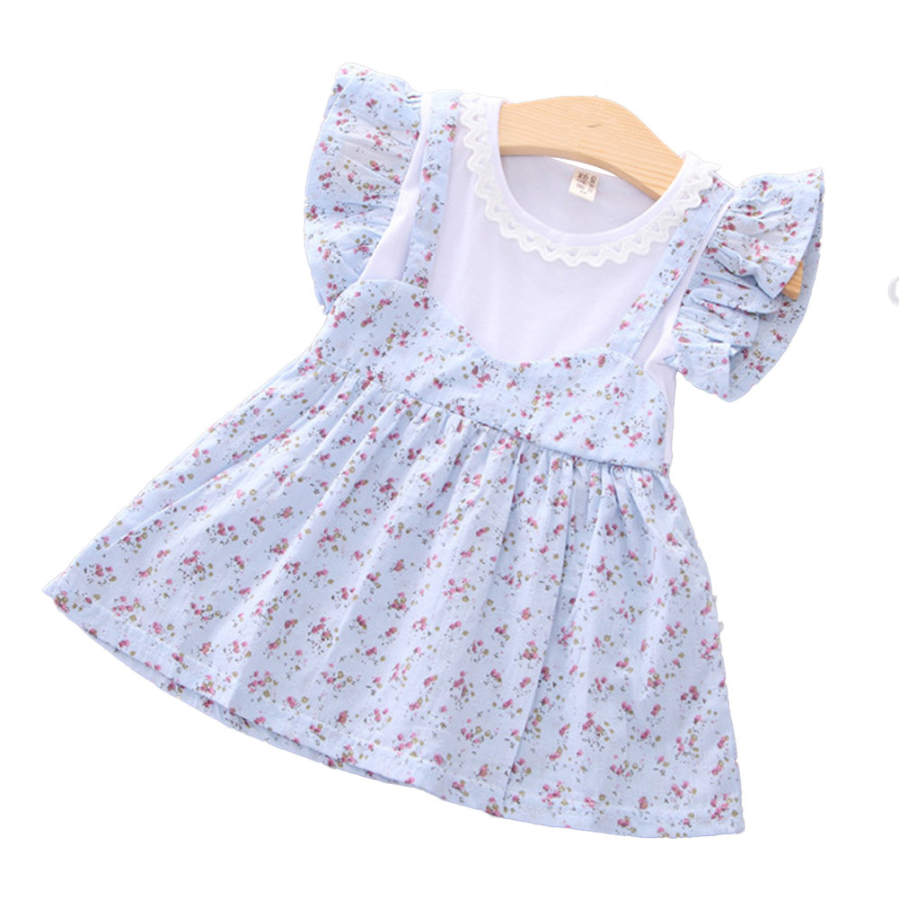 Girls dress cotton floral short-sleeve princess dress for 0-3 years old kids blue_S