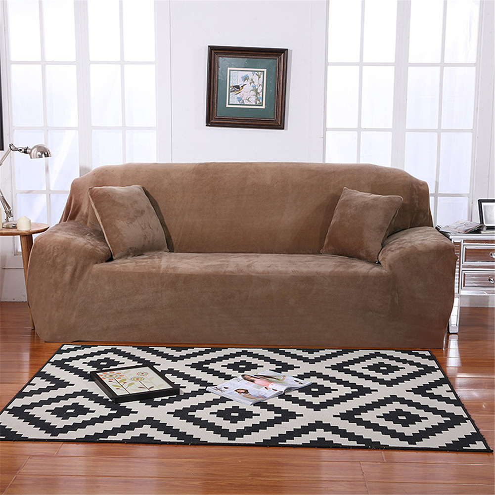 Plush Stretch Sofa Covers Stylish Furniture Cushions Sofa Slipcovers Winter Cover Protector  Camel_Three people 190-230cm