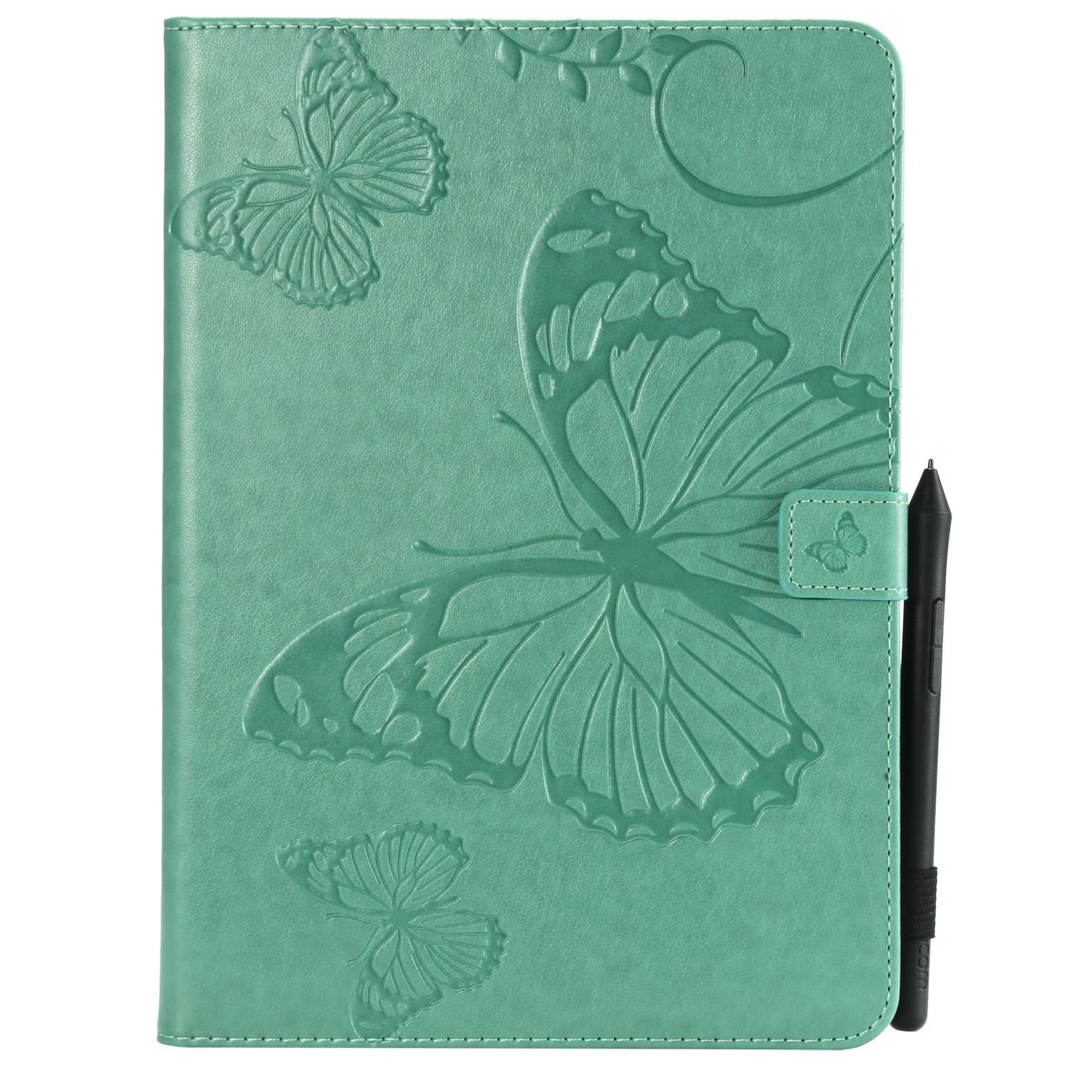For iPad 5/6/air1/air2 9.7 Fashion Butterfly Embossed PU Leather Magnetic Closure Stand Case Auto Wake/Sleep Cover with Pen Slot green