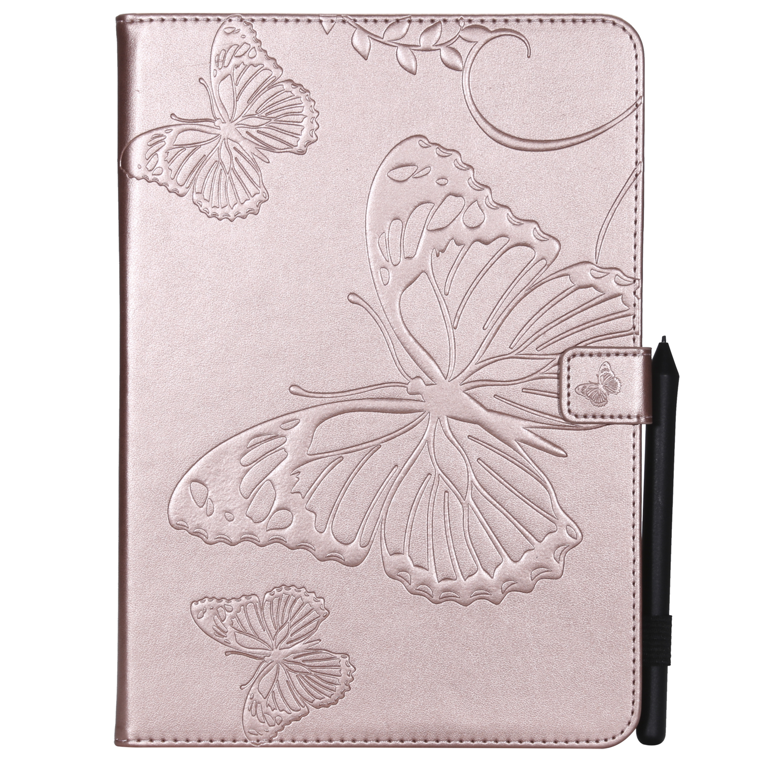 For iPad 5/6/air1/air2 9.7 Fashion Butterfly Embossed PU Leather Magnetic Closure Stand Case Auto Wake/Sleep Cover with Pen Slot Rose gold
