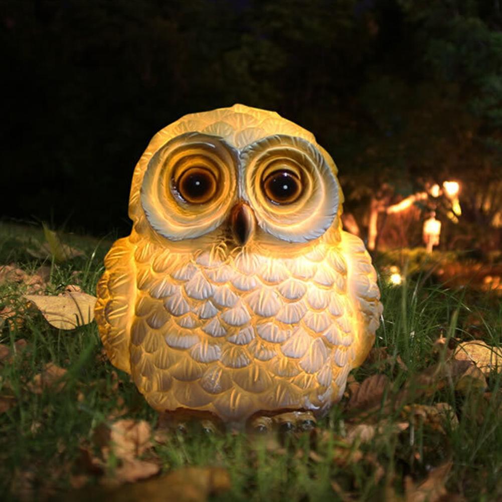 LED Solar-Powered Cartoon Owl Shape Lamp Landscape Ornament  14x11x10.5cm