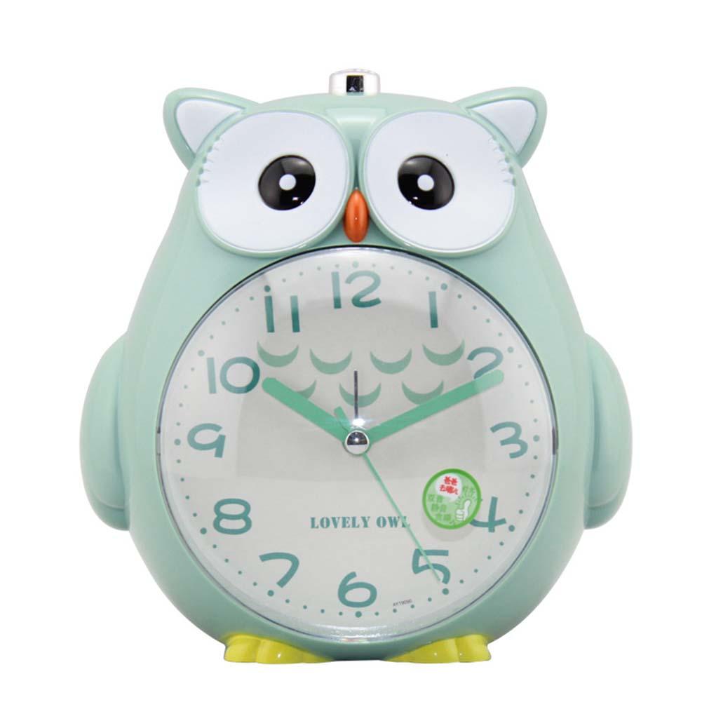4 Inches Cute Cartoon Owl Shape Alarm Clock Silent Night Light Student Kids Alarm Clock green