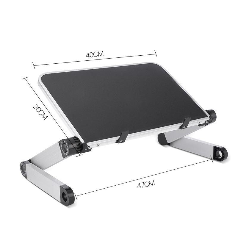 Aluminum Alloy Laptop Portable Foldable Adjustable Laptop Desk Computer Table Stand Tray Notebook PC Folding Desk Table Enlarge black