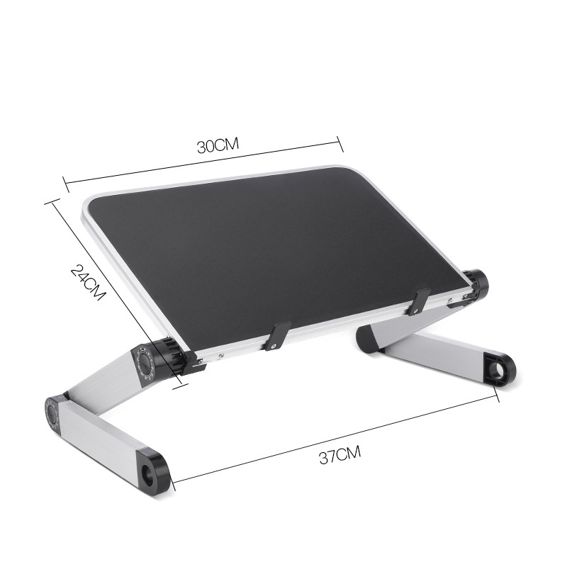 Aluminum Alloy Laptop Portable Foldable Adjustable Laptop Desk Computer Table Stand Tray Notebook PC Folding Desk Table Standard black