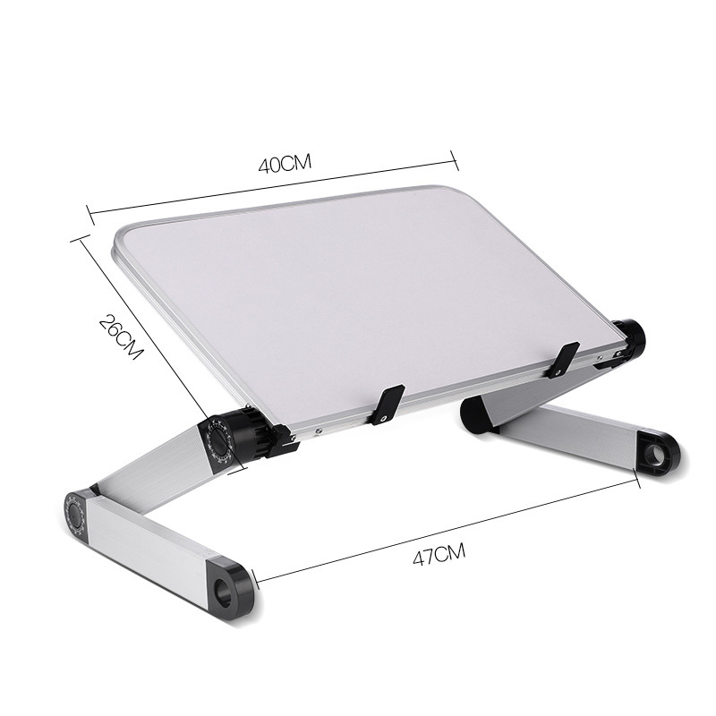 Aluminum Alloy Laptop Portable Foldable Adjustable Laptop Desk Computer Table Stand Tray Notebook PC Folding Desk Table Enlarge white