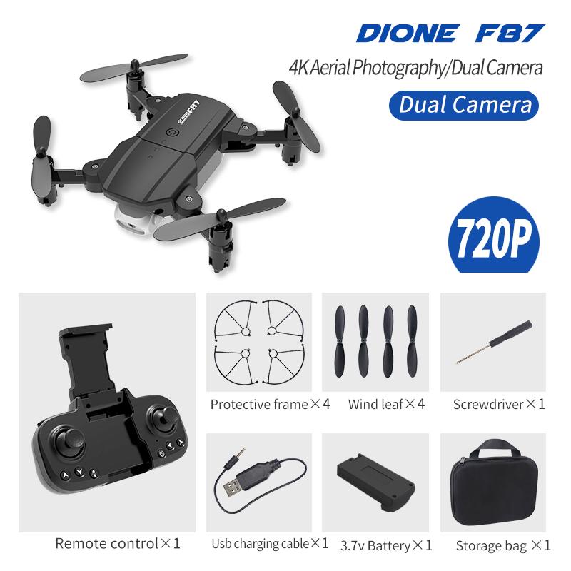 F87 Front+ Bottom Dual Camera Lens 720P/4K wifi fpv RC Drone Black 720P dual camera
