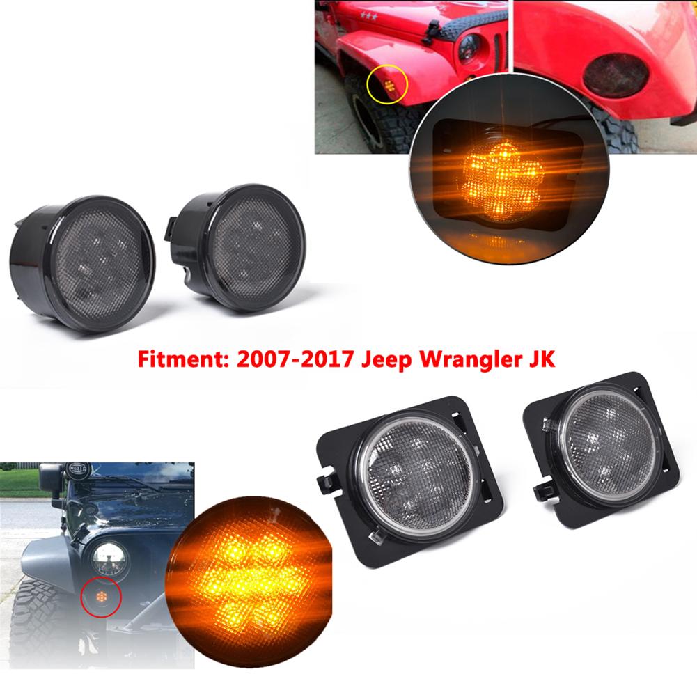 4PCS Amber Front LED Turn Signal Light+Side Light Combo Lens for 2007-2017 Jeep Wrangler JK Lamp As shown