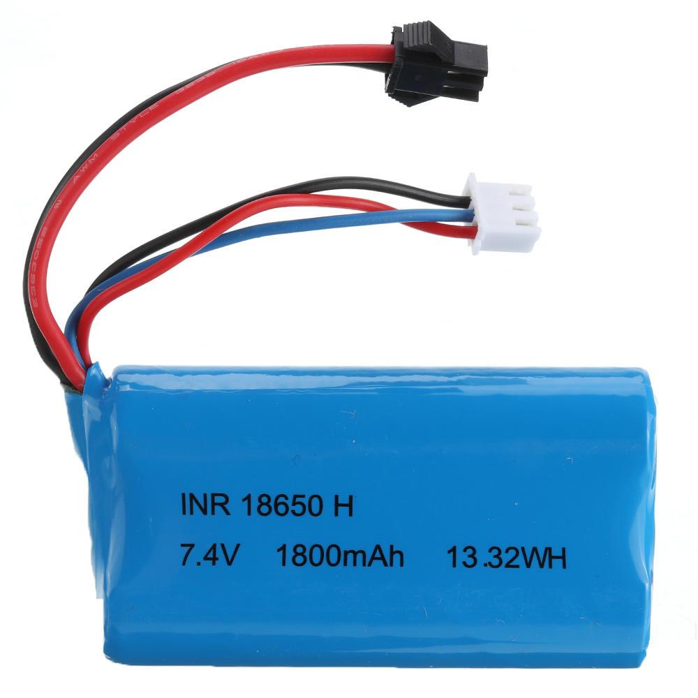 HS 18650 7.4V 1800MAH 10C 2S Lipo Battery JST/SM Plug for 18301/18302 18311/18312 Rc Car SM Black (plug)